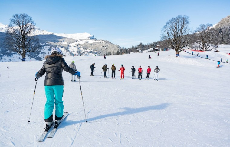 person skiing from a distance while other beginners watch