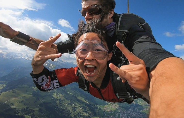 tour goer exhilarated doing skydiving