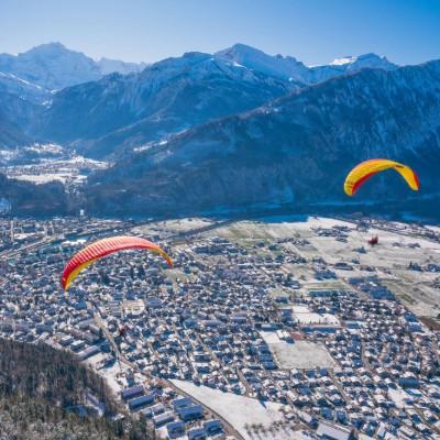 Flying over Interlaken in winter